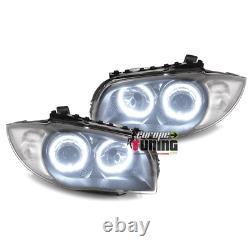 Phares Angel Eyes Ccfl Gris Fonce Bmw Serie 1 Type E87 E82 E81 E88 (04117)